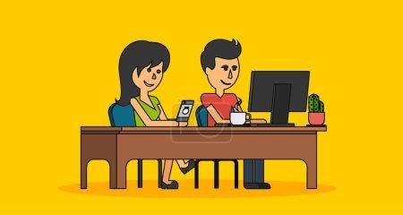 Illustration pour Les gens travaillent dans un appartement design. Femme et homme d'affaires, informaticien, bureau table et lieu de travail. Guy fille assis sur la chaise à la table devant l'ordinateur portable moniteur - image libre de droit