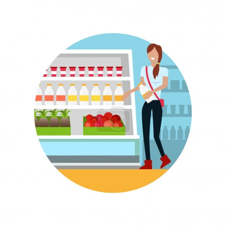 Illustration pour Les gens dans le design d'intérieur de supermarché. Achats de personnes, achats de supermarchés, marketing, intérieur de magasin de marché, client dans le centre commercial, illustration vectorielle de magasin de détail - image libre de droit