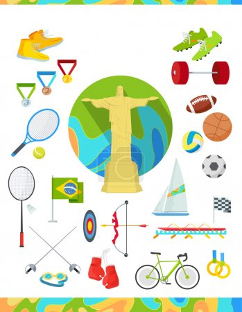 Icons Set Devoted to Summer Sport Games in Brazil