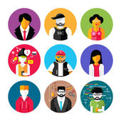 Set of stylish avatars of man and woman icons