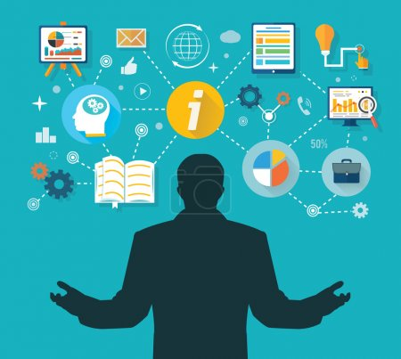 Illustration pour Homme d'affaires et icônes colorées. Homme d'affaires avec des icônes à écran tactile. Gagnant en administration des affaires et du temps de gestion - image libre de droit