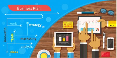 Business plan strategy with touchscreen presentation