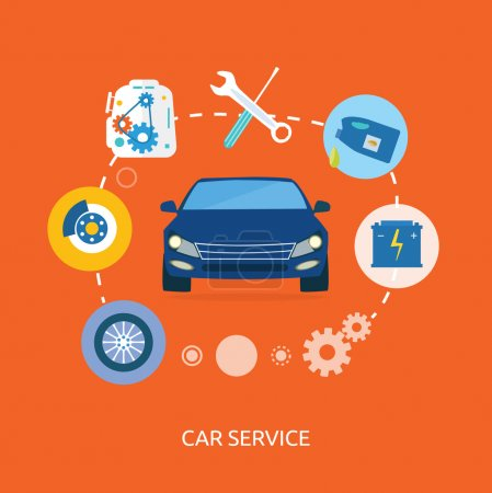 Illustration for Auto mechanic service flat icons of maintenance car repair. Auto service concept. Car service diagnostics. Computers are used to communicate with auto electronics - Royalty Free Image