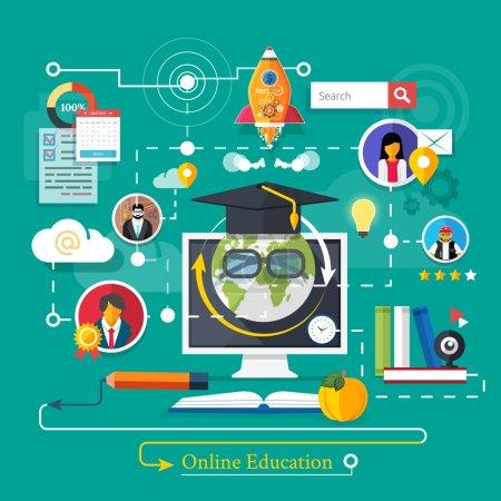 Photo pour Set icônes pour l'éducation, l'éducation en ligne, la formation professionnelle dans le style de design plat - image libre de droit