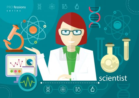 Illustration for Profession scientist with icon elements of laboratory test tubes microscope analysis of molecule flat design cartoon style - Royalty Free Image