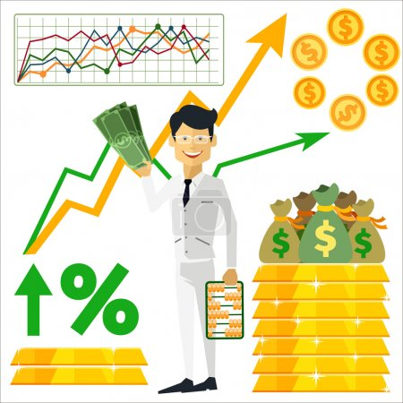 Illustration for Happy man trader holding dollars in hand and near him on background gold bars and graph arrow indicators up flat design style - Royalty Free Image