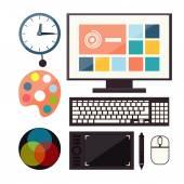 Sada barevné grafiky, web design ikon