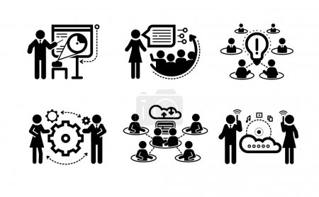 Illustration pour Meeting icons in black color. Business presentation teamwork concept. Internet cloud between businessmans - image libre de droit