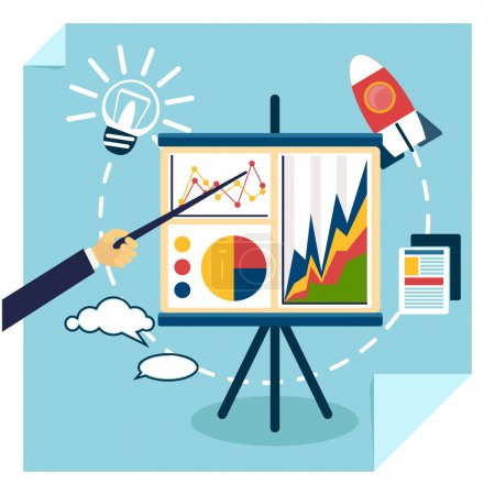 Illustration pour Flat design of presentation business development concept from good idea to successful startup. Hand with pointer points to tripod with chart graph - image libre de droit