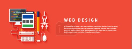 Illustration for Web design concept. Computer monitor with the screen of the program for design and architecture in flat design. Set for web and mobile applications of web design - Royalty Free Image