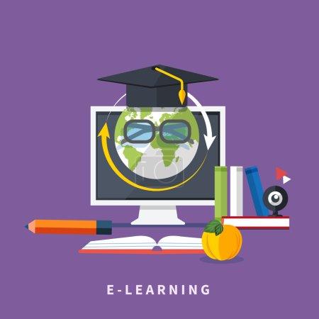 Illustration pour Set icônes pour l'éducation, l'éducation en ligne, la formation professionnelle dans le style de design plat - image libre de droit
