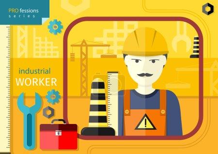 Industrial worker in workwear and helmet