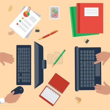 Illustration pour Vue du dessus des mains de travail avec ordinateur portable, ordinateur portable, crayons, papeterie pc et documents - image libre de droit