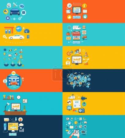 Illustration pour Voiture service de lavage de voiture station-service auto diagnostic. Concept de connexion réseau et les médias sociaux. Le magasin de la ligne, portail d'informations, travailler sur la tâche - image libre de droit