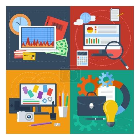 Illustration pour Set de concepts pour la comptabilité financière, la gestion marketing, la conception web, l'analyse de données flat design - image libre de droit