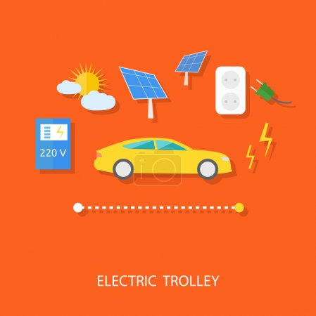 Eco concept of electric trolley and eco energy