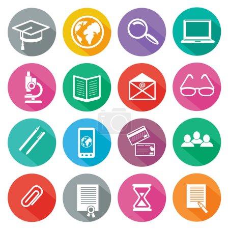 Illustration pour Ensemble de 16 icônes rondes de formation professionnelle, d'éducation en ligne, d'apprentissage en ligne, de connaissances à longue ombre sur fond blanc - image libre de droit