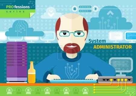 Illustration pour Concept de profession avec administrateur système masculin sur son lieu de travail avec ordinateur dans un centre de données - image libre de droit