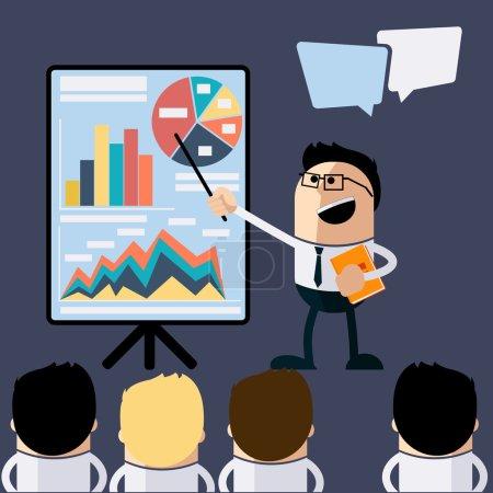 Meeting businessman pointing presentation