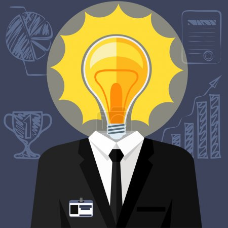 Illustration for Bulb headed man. Business man in suit with lightbulb in place of head. Idea concept cartoon flat design style - Royalty Free Image