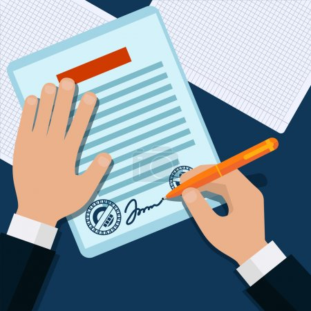Illustration for Man signs document stamped handle puts his signature cartoon flat design style - Royalty Free Image