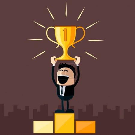 Illustration pour Heureux homme d'affaires se tient sur le piédestal tient tasse supérieure dessin animé style design plat - image libre de droit