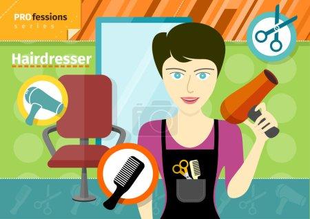 Female hairdresser in uniform holding hair dryer