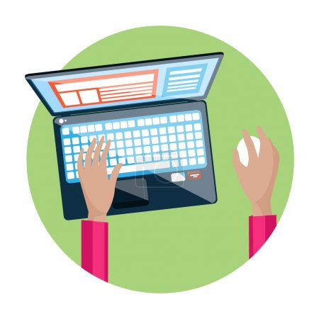 Hand on laptop keyboard with screen monitor