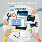 Concept for mobile application development teamwork brainstorm cooperation with hands working on a smartphone navigation screen interface social media  services