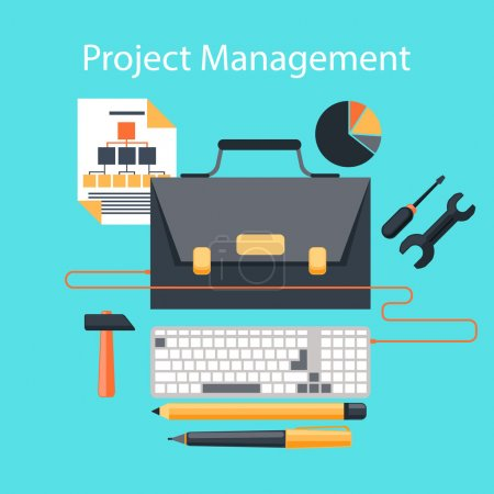 Illustration pour Concept d'entreprise dans la conception plate de la gestion de projet avec portefeuille comme moniteur LCD d'ordinateur de bureau, papeterie et outils - image libre de droit