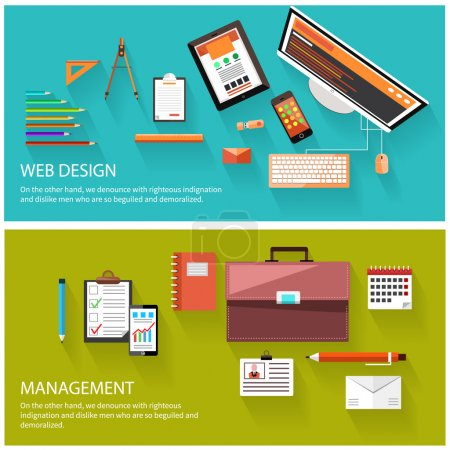 Illustration for Flat design of project management and creative process. Web design and management concept. Computer monitor with the screen of the program for design and architecture - Royalty Free Image