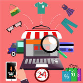 Internet shopping concept laptop with awning of buying products via online shop store e-commerce ideas e-commerce symbols sale elements on stylish background