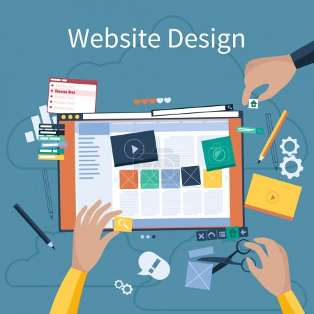Illustration for Website design concept. Hands that design web site with different blocks. Tablet pc interface. Big Touch pad buttons in flat design style - Royalty Free Image