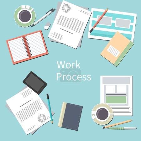 Illustration pour Concept de processus de travail avec vue de dessus du bureau avec smartphone, documents papier et accessoires personnels de l'homme d'affaires dans le design plat - image libre de droit
