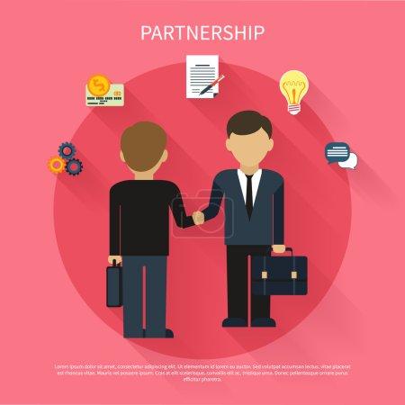 Illustration pour Concept de partenariat. Des hommes d'affaires en réunion d'affaires. Deux hommes font poignée de main dans la conception plate - image libre de droit