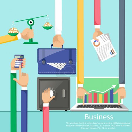 Illustration for Hands with various business elements such as safe, scales with coins, briefcase, calculator and laptop with stock graph. Flat icon modern design style concept - Royalty Free Image
