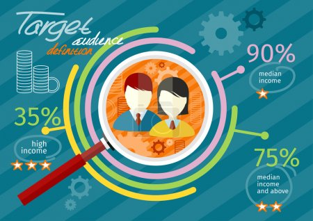 Target audience infographic with magnifying glass ...
