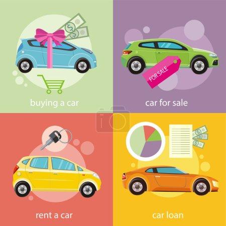 Illustration pour Prêt voiture document approuvé avec de l'argent dollars. Achat concept de voiture. Voiture cadeau et ruban rouge avec de l'argent en dollars. Vente de voitures. Concept de location de voiture en design plat - image libre de droit