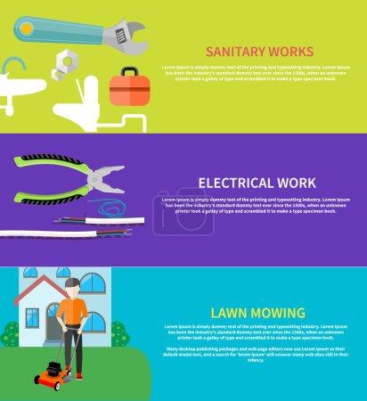 Sanitary, electrical work, lawn mowing