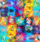 Abstract geometric background Multicolored triangles Beautiful inscription Triangle background with bright lines Pattern of crystal geometric shapes Multicolor mosaic banner