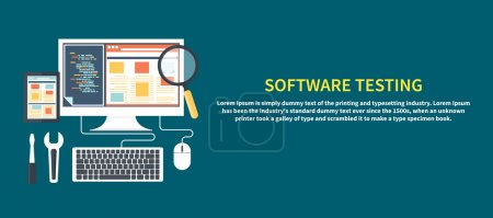 Illustration for Software development workflow process coding testing analysis concept banner in flat design - Royalty Free Image