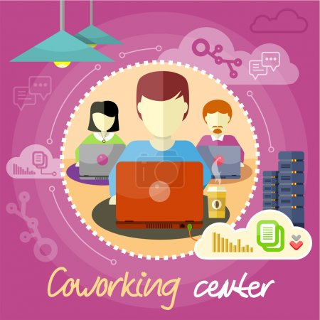 Illustration pour Concept de centre de coworking. Icônes de coworking item. Réunion d'affaires en design plat. Environnement de travail partagé. Les gens travaillent avec des ordinateurs portables - image libre de droit