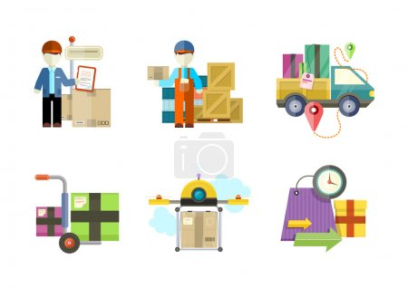 Illustration pour Concept de services dans les biens de livraison. Achats en ligne et expédition dans le monde entier. Peut être utilisé pour les bannières Web, le marketing et le matériel promotionnel, les modèles de présentation - image libre de droit
