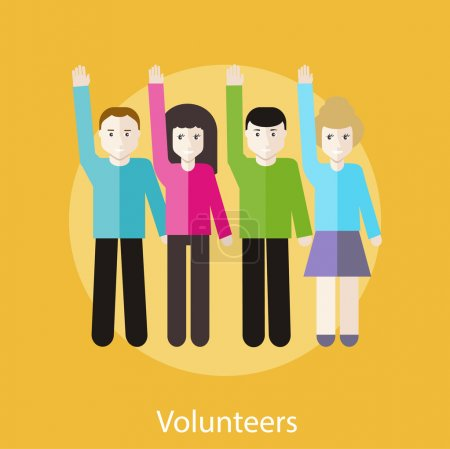 Illustration for Volunteer group raising hands against. Concept in flat design style. Can be used for web banners, marketing and promotional materials, presentation templates - Royalty Free Image