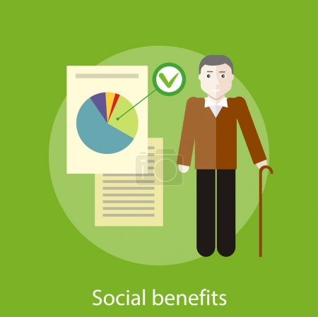 Illustration for Grandpa with documents of social benefits. Concept in flat design style. Can be used for web banners, marketing and promotional materials, presentation templates - Royalty Free Image