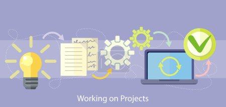 Illustration pour Je travaille sur le concept du projet. Icônes de concept de plan d'affaires en style plat. Idée de produit. Gestion de projet et stratégie - image libre de droit