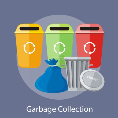 Garbage and Recycling Cans Collection