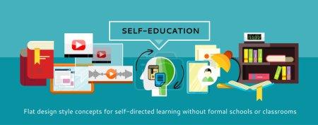 Illustration pour Ressources humaines et auto-éducation et développement. Concept d'entreprise moderne avec des icônes pour l'auto-apprentissage. Peut être utilisé pour les bannières Web, le marketing et le matériel promotionnel, les modèles de présentation - image libre de droit