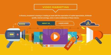 Illustration pour Marketing vidéo. Approches, méthodes et mesures de promotion des produits et services basés sur la vidéo. Concept d'entreprise pour bannière web, présentation. Travailler avec du contenu numérique et de la publicité - image libre de droit