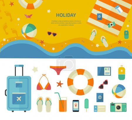 Banner and Icons of Sea Holiday Travel Concept